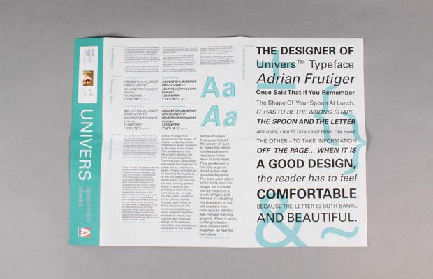 Typeface Specimen Sheet Sheet For Univers Typeface